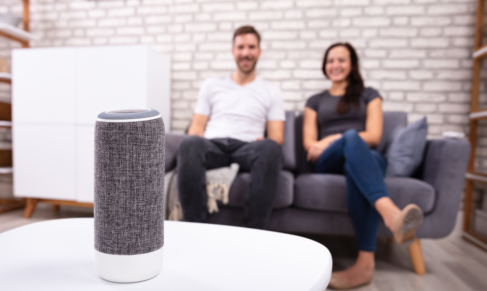 Couple with speakers